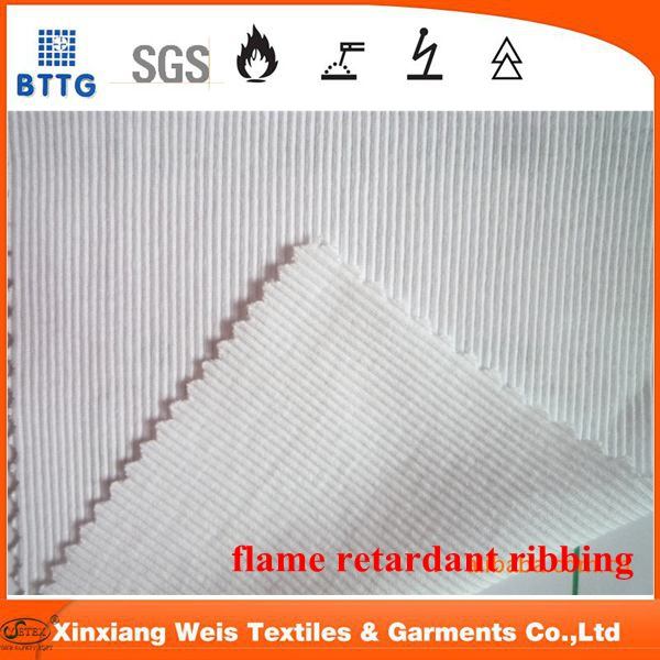 flame resistant ribbing for apparel collar