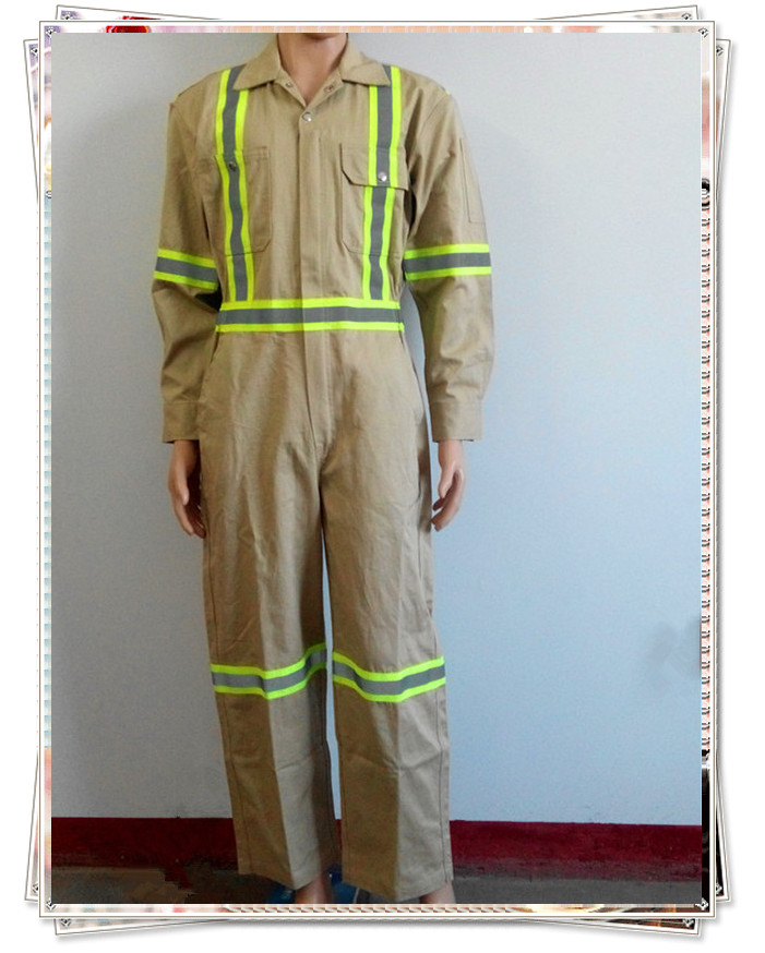 fire resistant khaki coverall with reflective tape