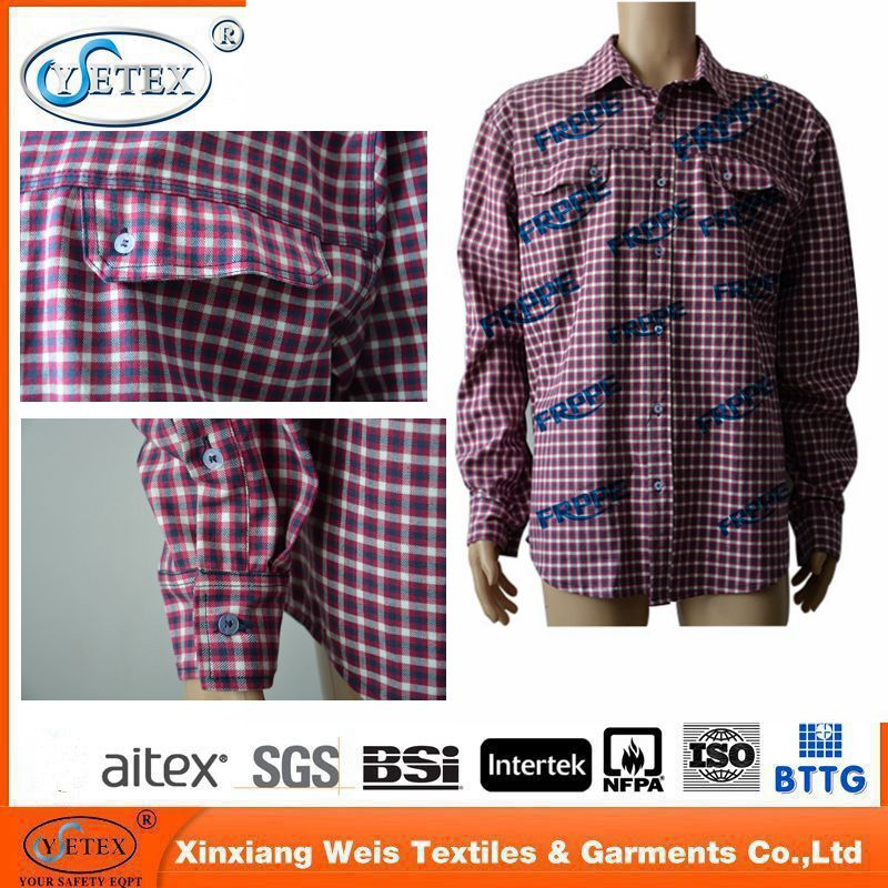 220G Cotton Nylon flame retardant plaid shirt