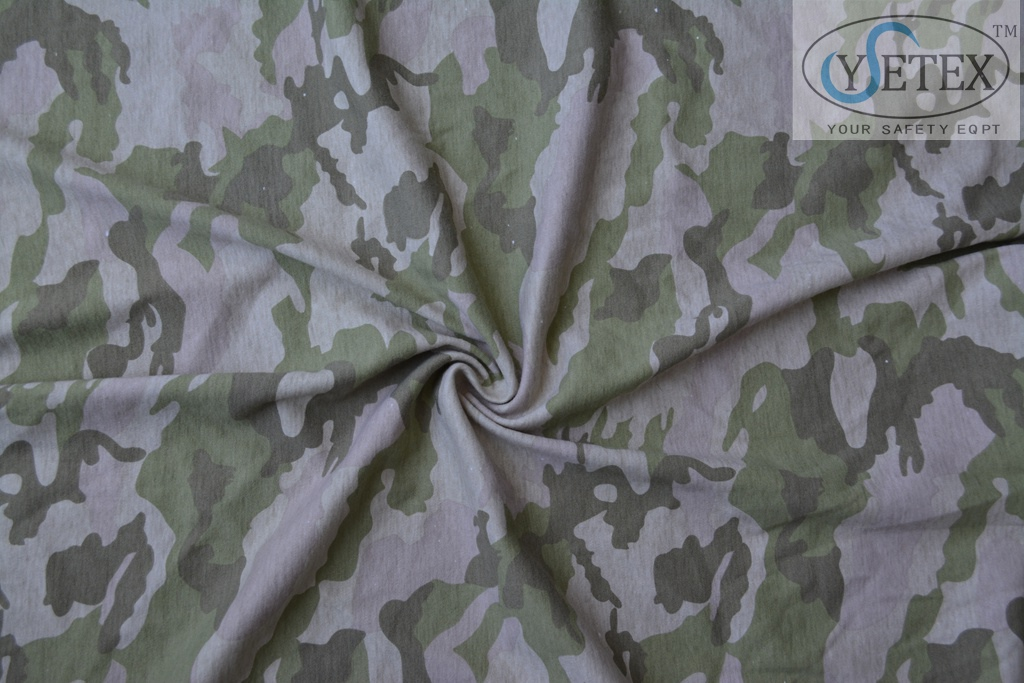 Flame retardant camouflage knit fabric