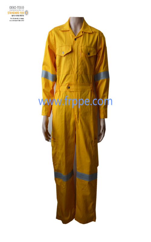 Wholesale custom 100% cotton Yellow welding fireproof frc fr fire retardant work clothes
