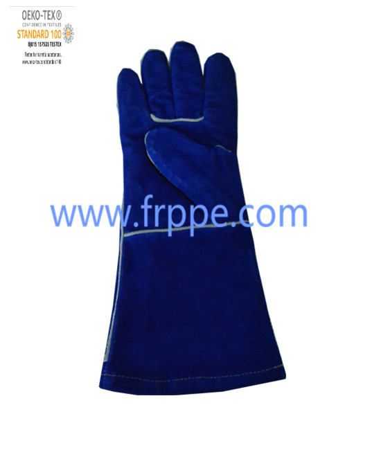 Blue Promotional Good Quality Cowhide Welding gloves
